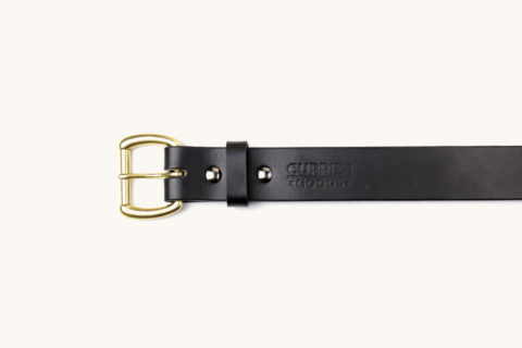 belt black brass buckle top view