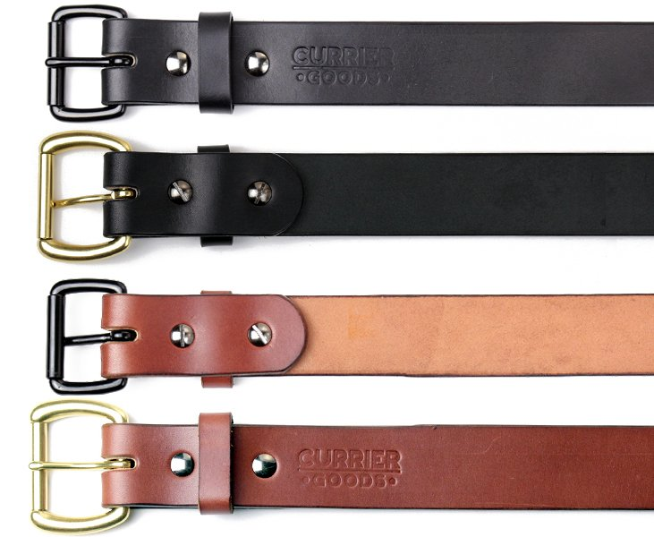 All handmade belts Currier Goods